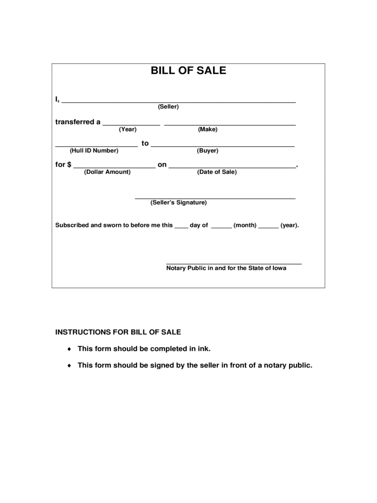 Doc.#600791: Printable Bill of Sale for Boat – Bill Of Sale Form ...