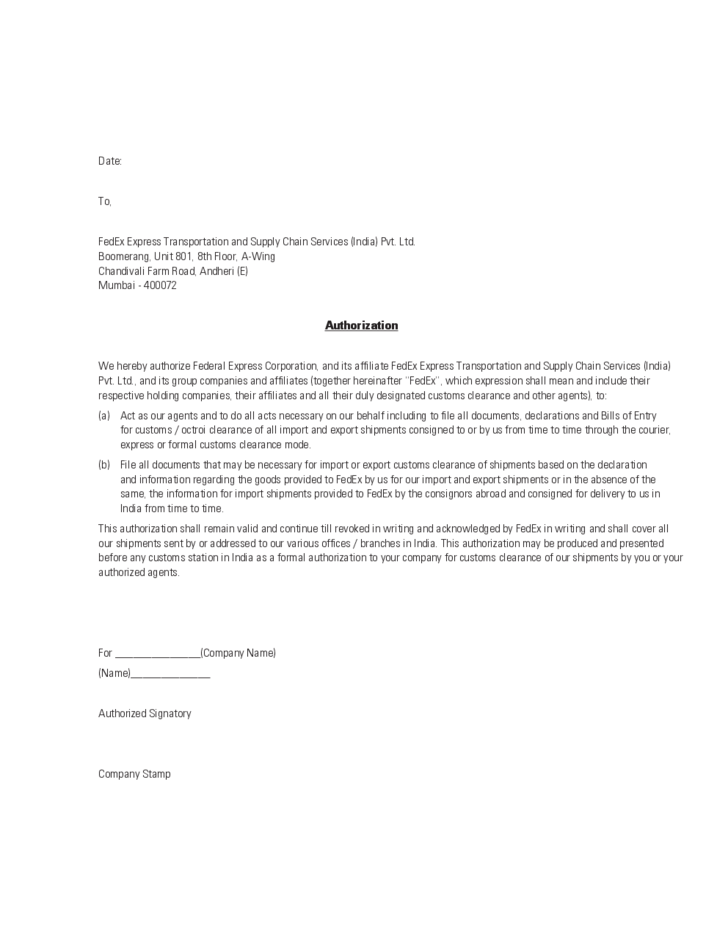 agent authorization letter sample free download