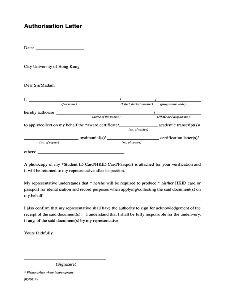 Authorization Letter Sample Free Download
