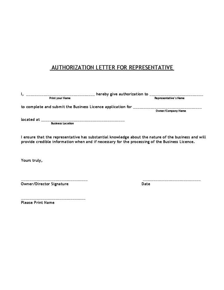 Authorization Letter For Representative Free Download