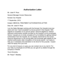 Medical Treatment Authorization Letter Sample Free Download