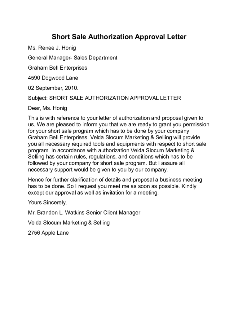 Short Sale Authorization Approval Letter Sample