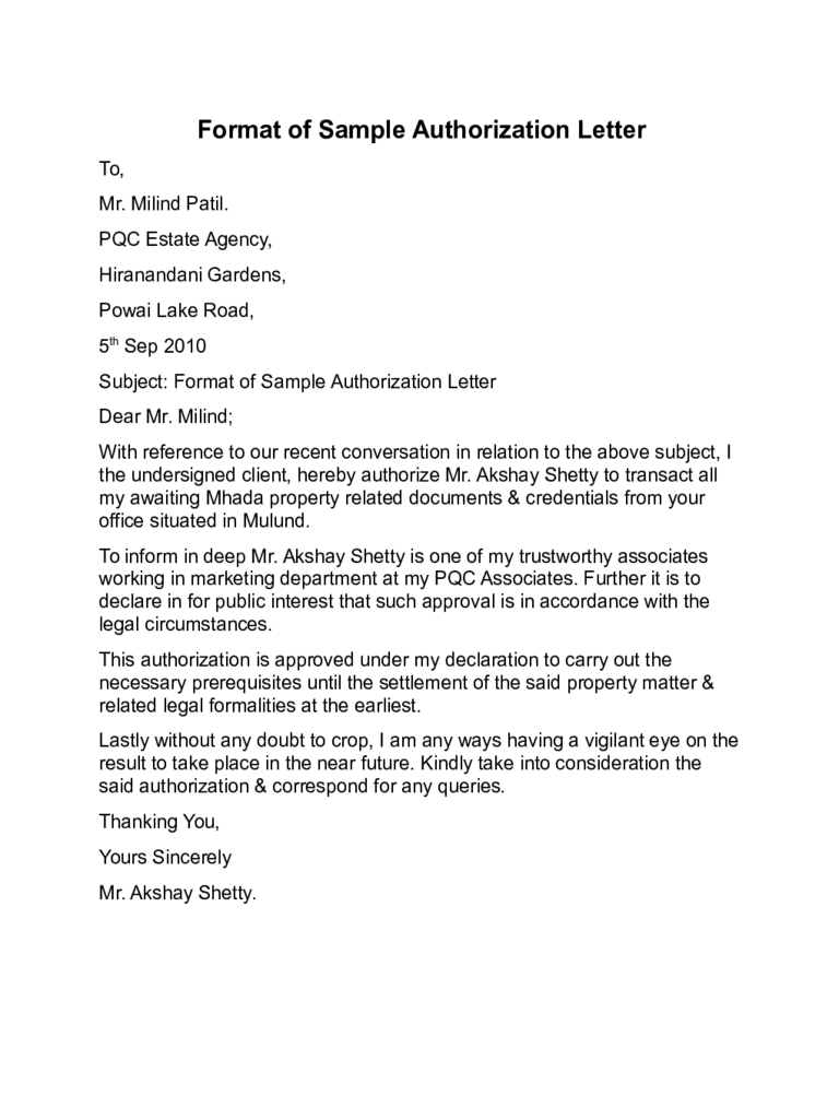 Letter of Authorization Samples