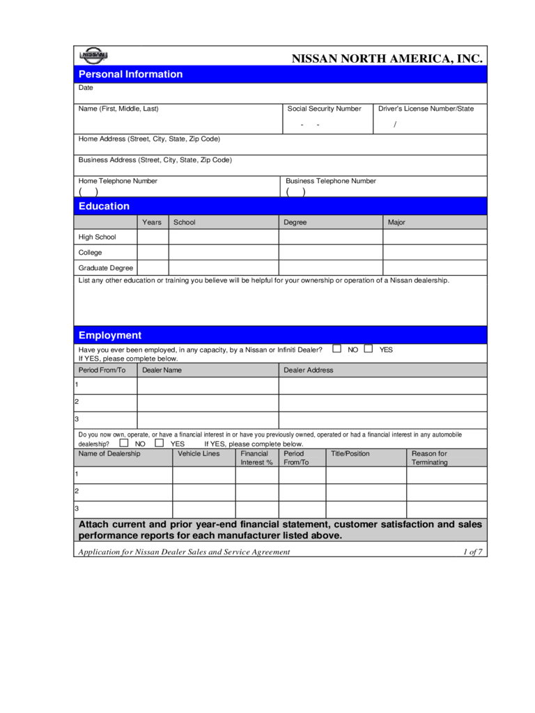 Nissan Job Application Form