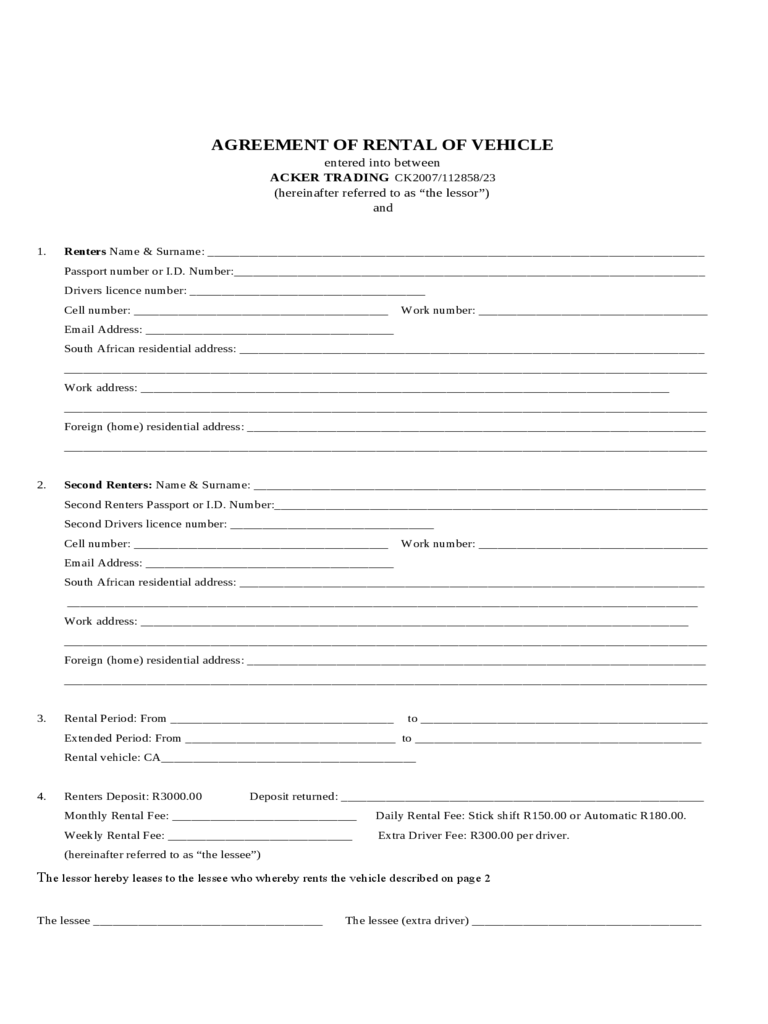 Sample Form For Auto Rental And Lease