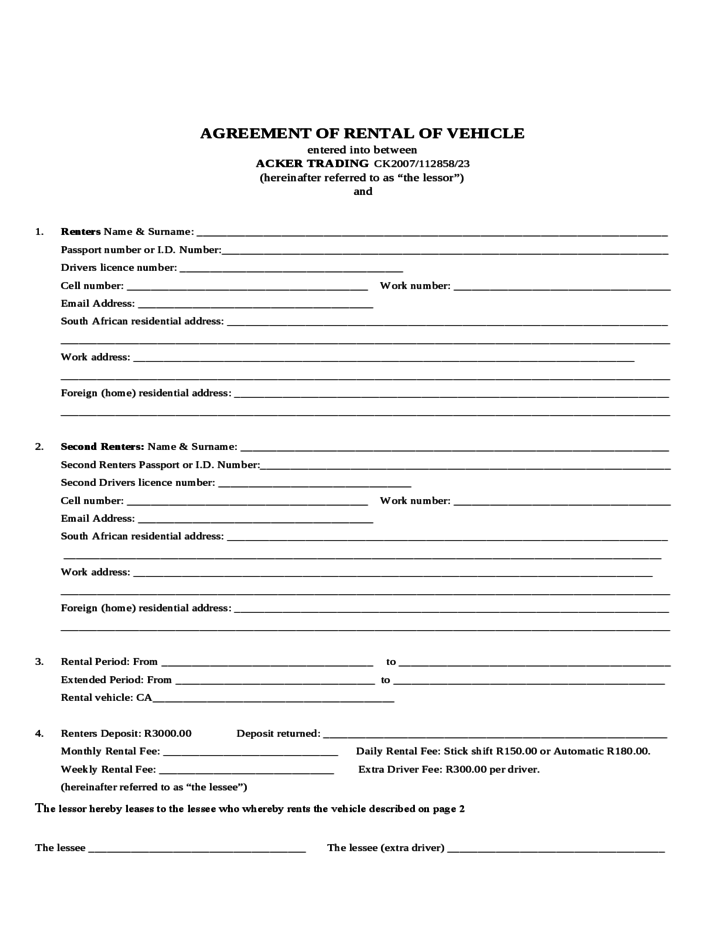 Sample Form For Auto Rental And Lease Free Download