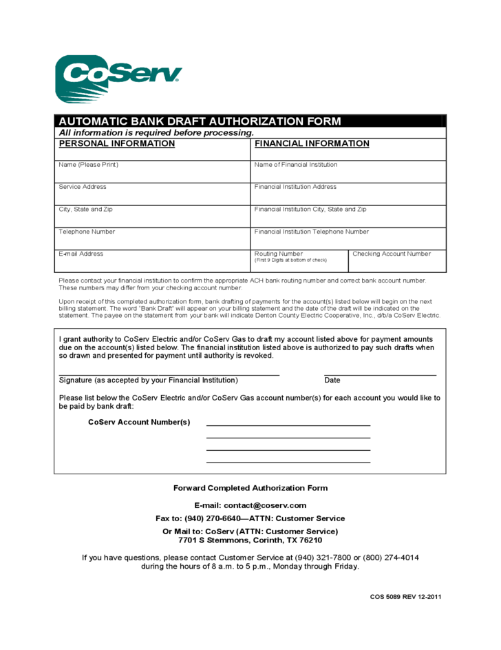 Automatic Bank Draft Authorization Form Coserv Free Download