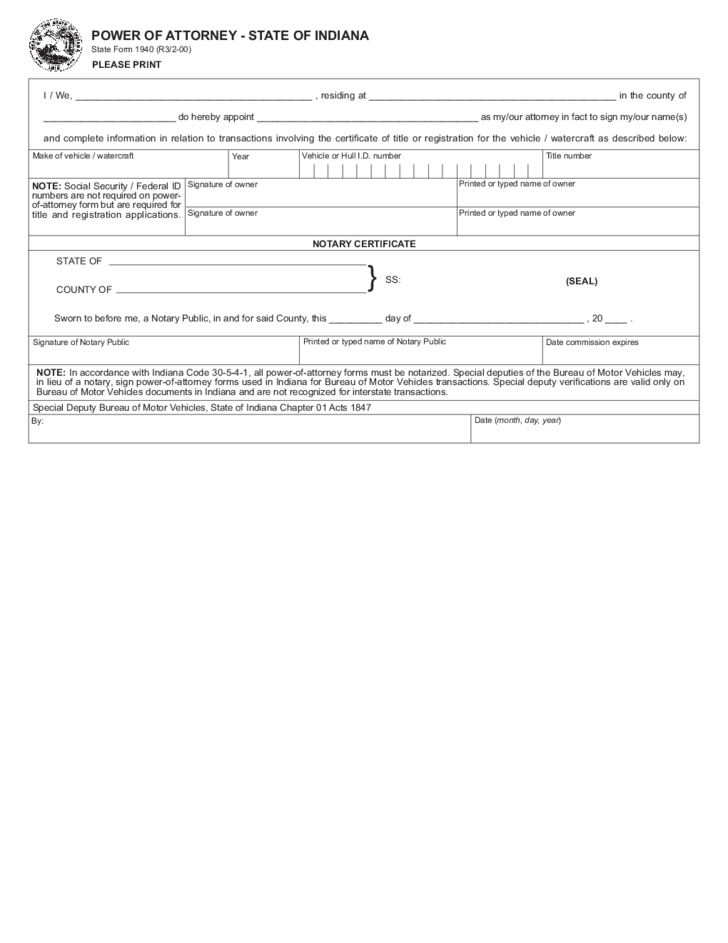 Vehicle Power Of Attorney State Form Indiana Free Download