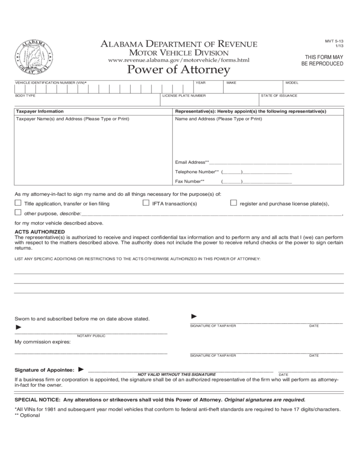 Motor vehicle power of attorney form alabama free download for Power of attorney to transfer motor vehicle form