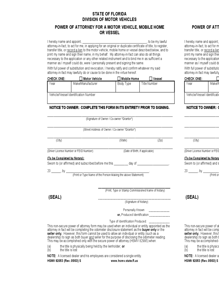 Motor Vehicle Power Of Attorney Form Florida Free Download