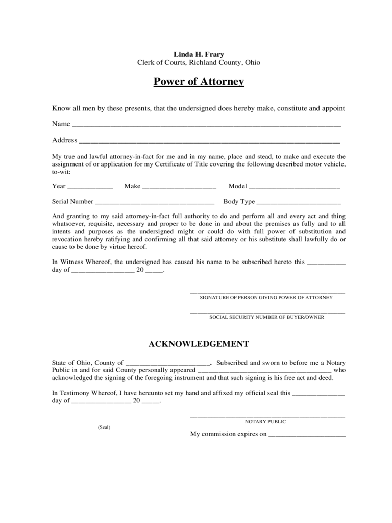 Ohio power of attorney form free templates in pdf word excel to motor vehicle power of attorney ohio falaconquin