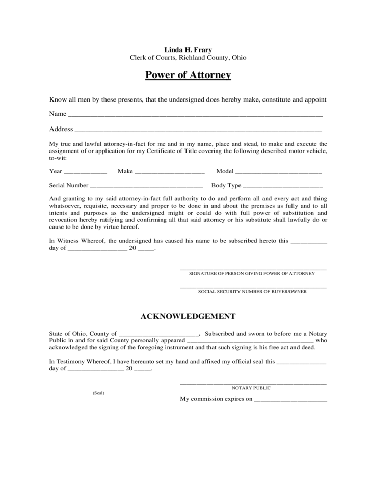 Motor Vehicle Power Of Attorney Ohio Free Download