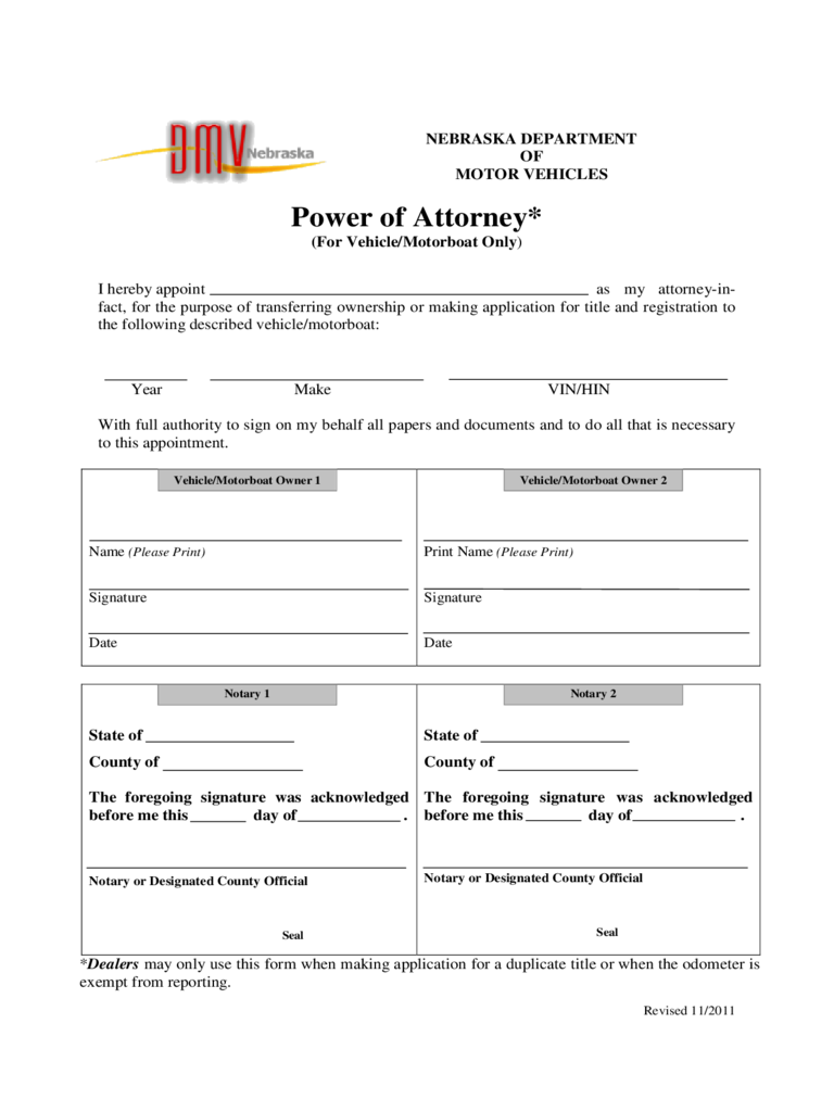 nebraska power of attorney form