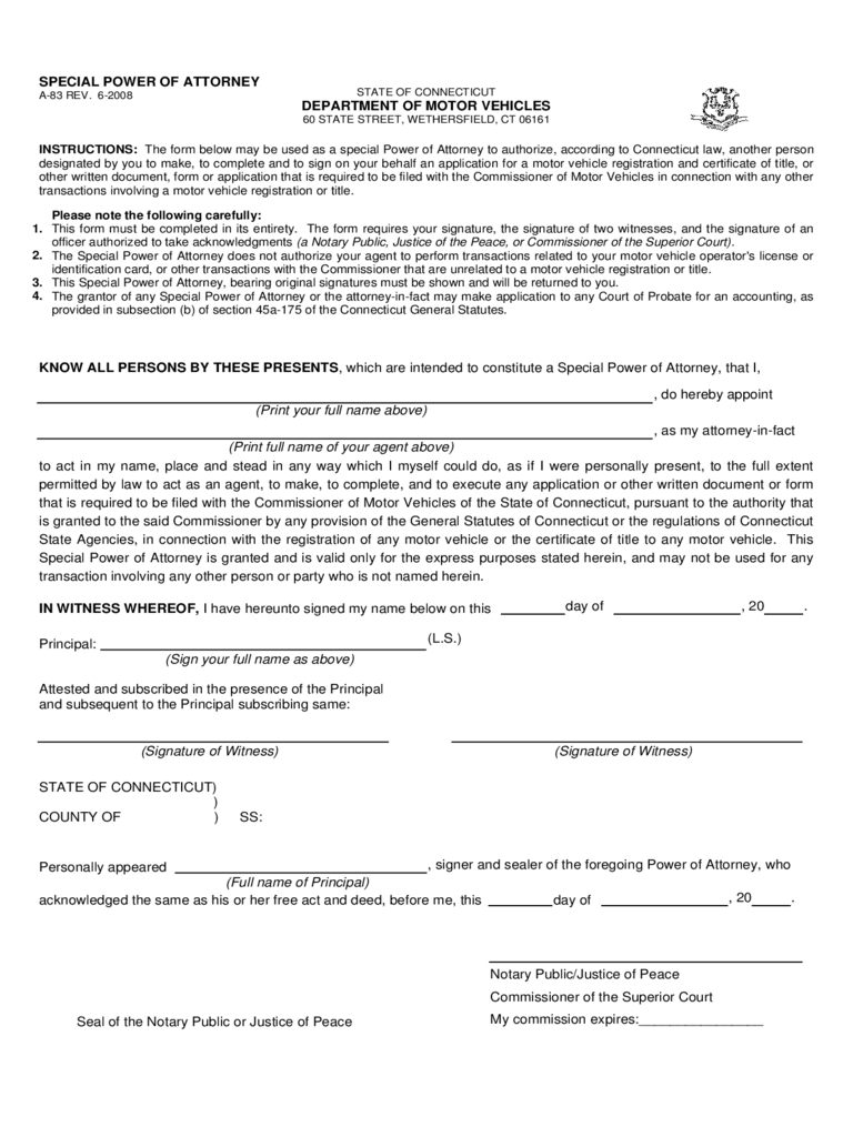 Motor Vehicle Power of Attorney Form - Connecticut