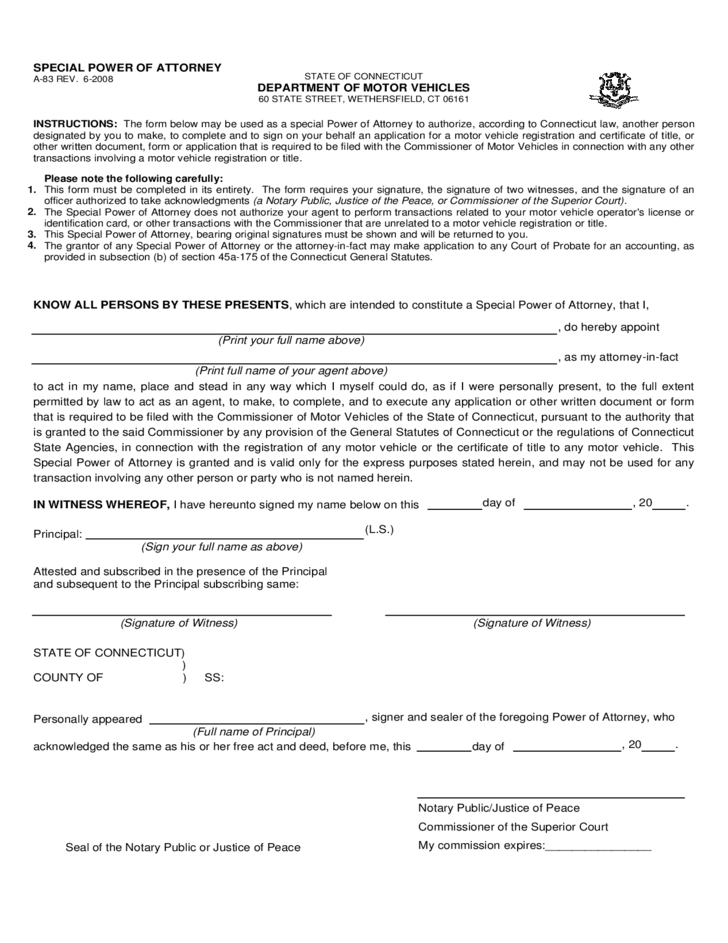Motor Vehicle Power Of Attorney Form Connecticut Free