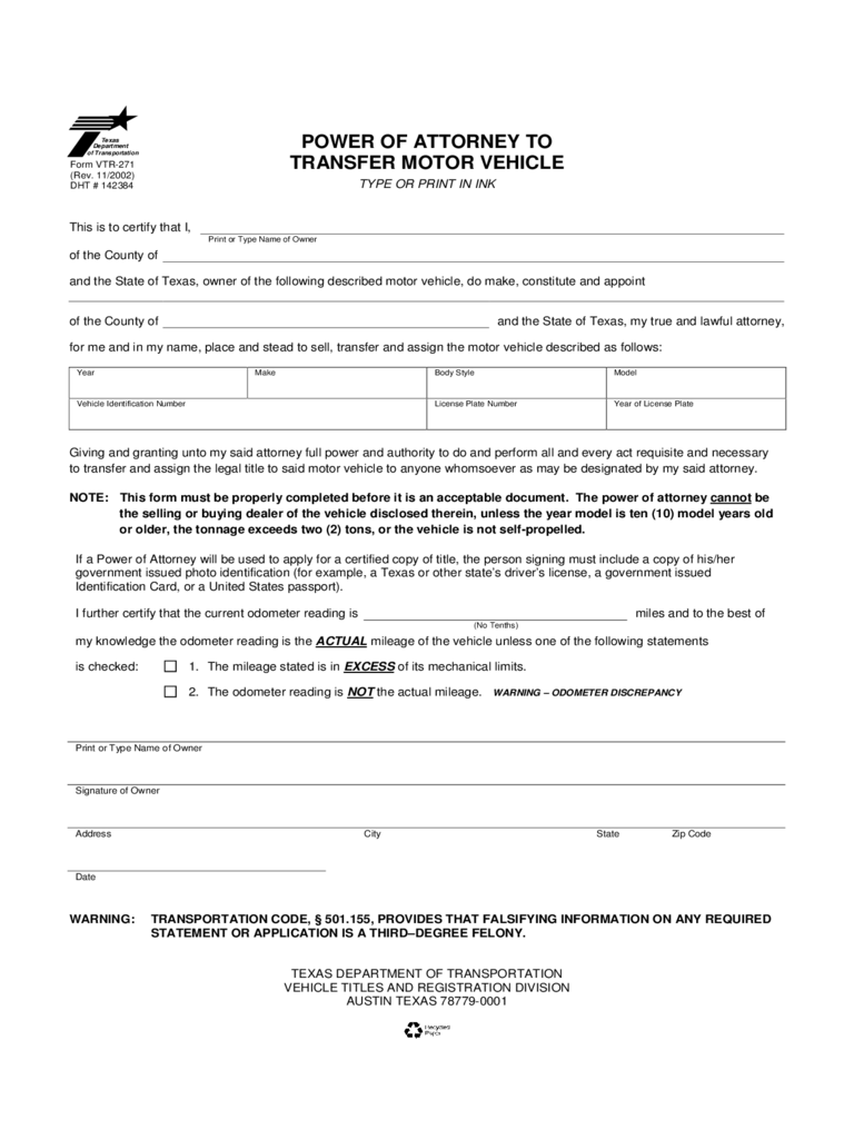 Texas Power Of Attorney Form Free Templates In Pdf Word Excel To