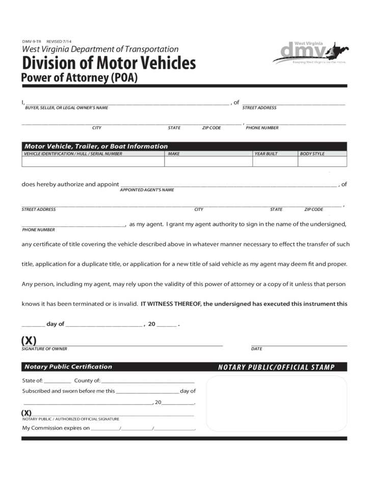 Division Of Motor Vehicles Power Of Attorney West
