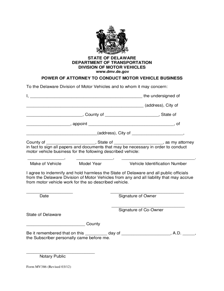 Power of Attorney to Conduct Motor Vehicle Business - Delaware