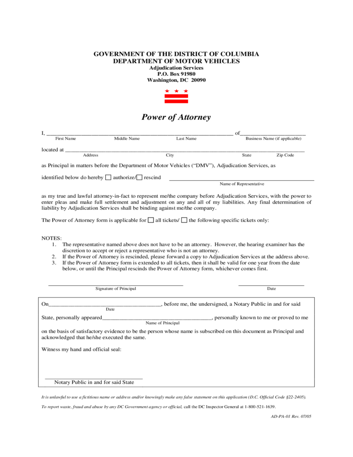 Power of Attorney for Motor Vehicles - Columbia