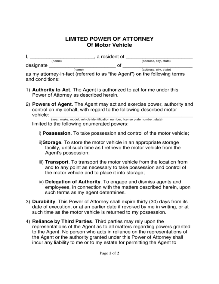 limited power of attorney of motor vehicle free download