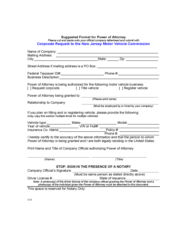 New Jersey Power Of Attorney Form Free Templates In Pdf