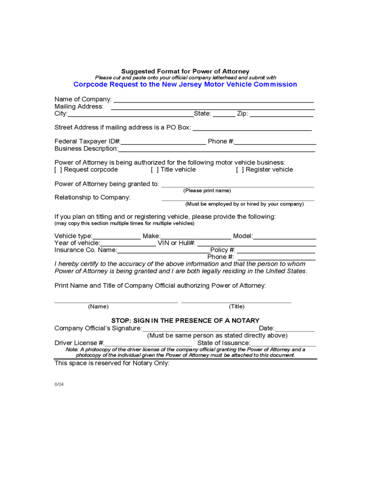 Suggested format for motor vehicle power of attorney new for State of colorado power of attorney for motor vehicle only