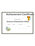 Science Achievement Award Certificate Free Download