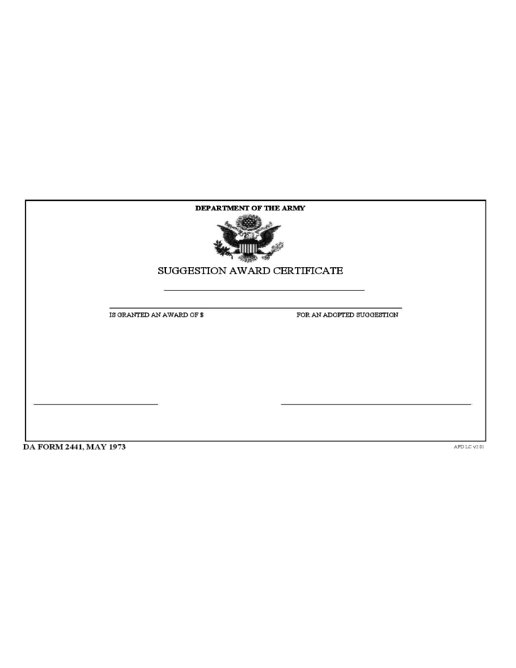 Suggested Award Certificate