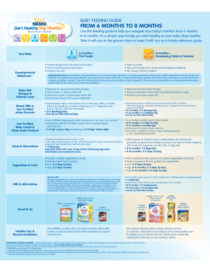 Health Canada Baby Food Guide
