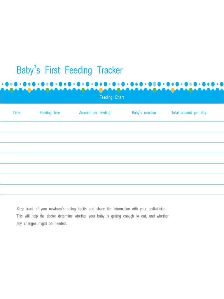 Baby's First Feeding Tracker Chart