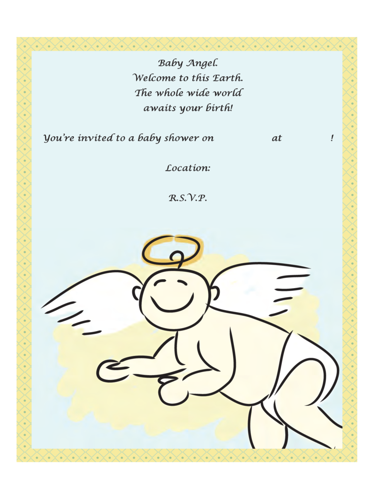 Angel Poem Baby Shower Invitation Template