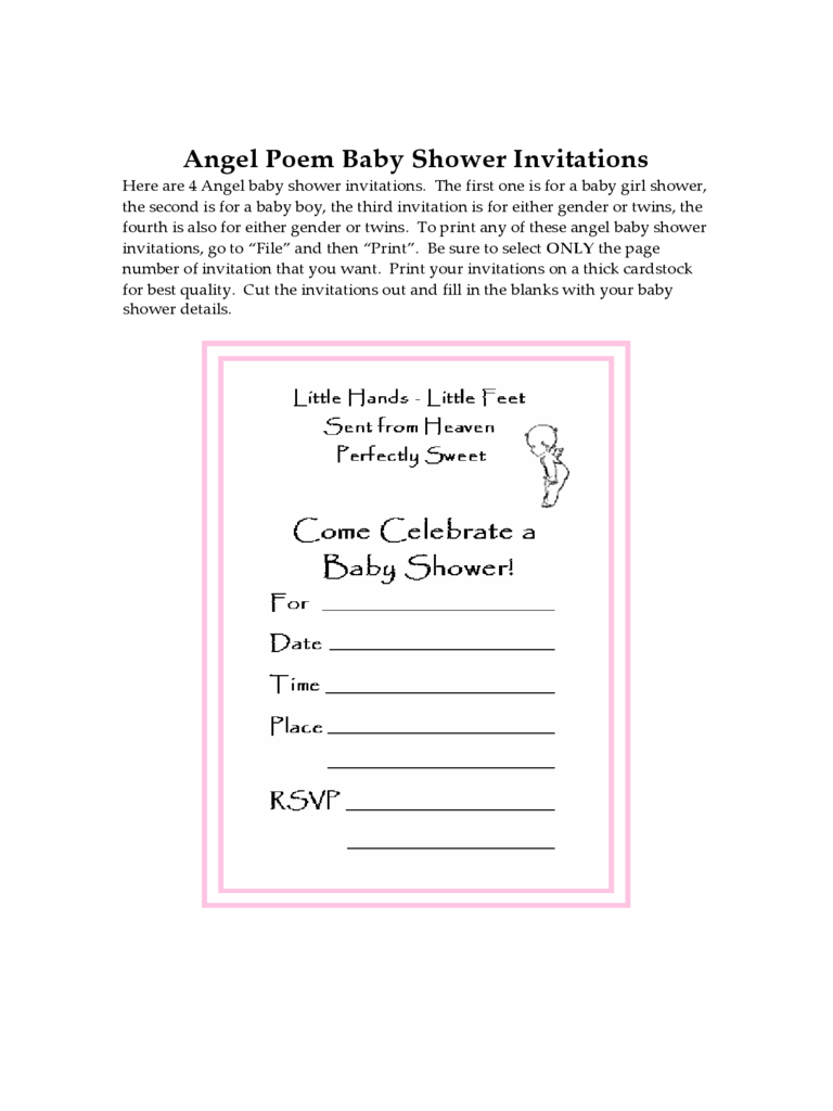 Sample Blank Baby Shower Invitation Template