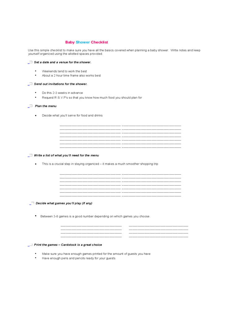 Baby Shower To Do List Template 5 Free Templates In Pdf Word