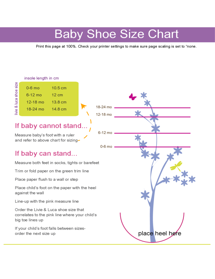 Baby shoe size chart free download