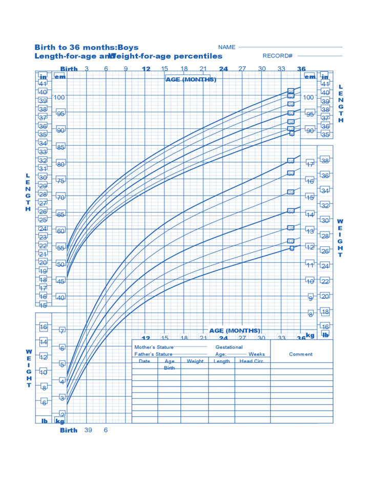 Birth To 36 Months Boys Baby Weight Chart Free Download