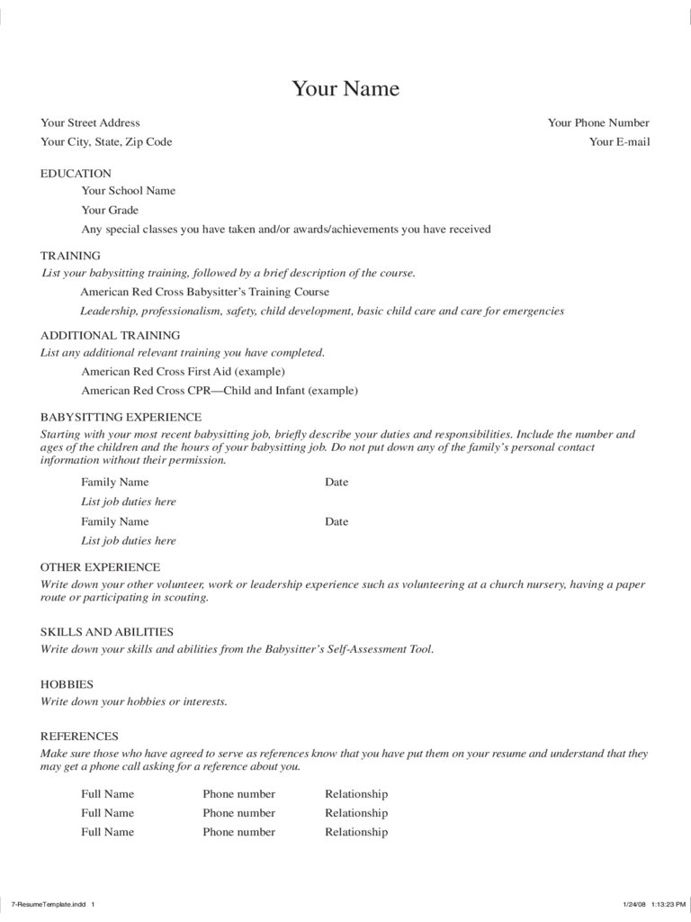 Babysitter Resume Template   Free Templates In Pdf Word Excel