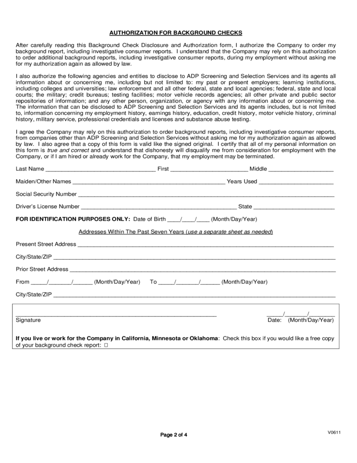 Background Check Disclosure and Authorization Form Free Download