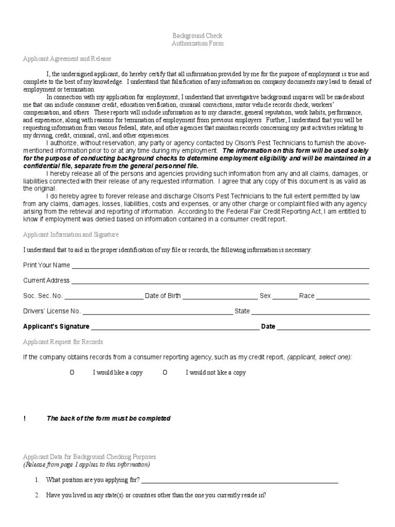Background Check Form - 3 Free Templates in PDF, Word, Excel Download