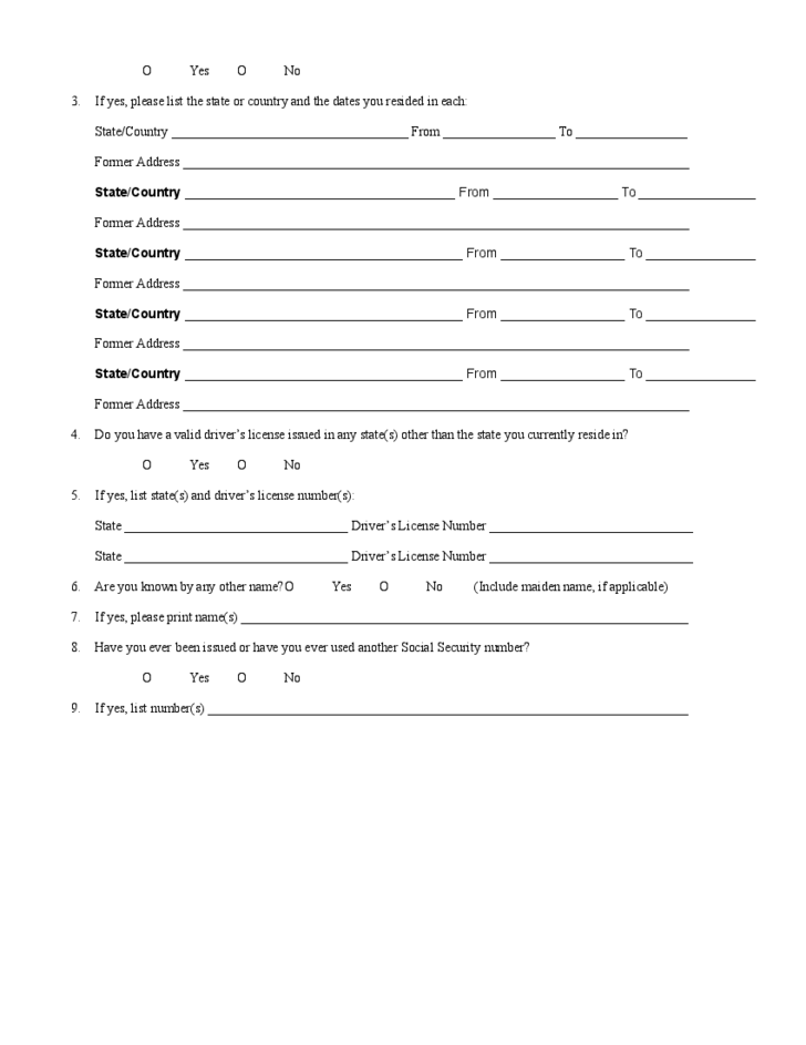 Background Check For Employment Form
