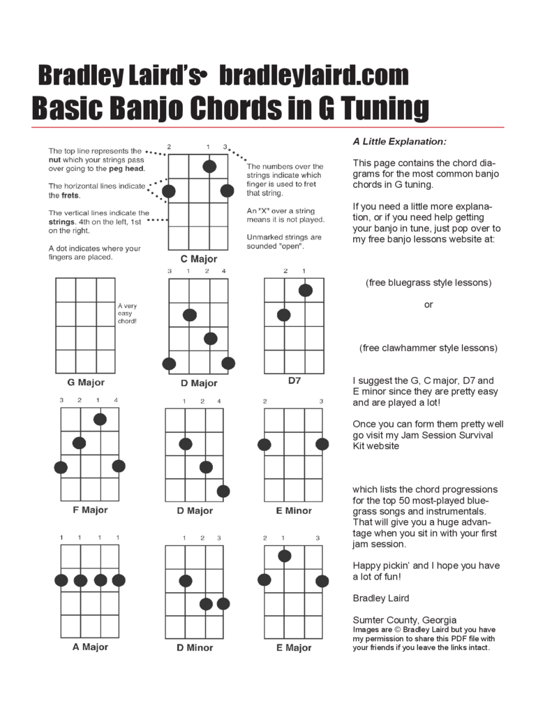 Basic Banjo Chords in G Tuning