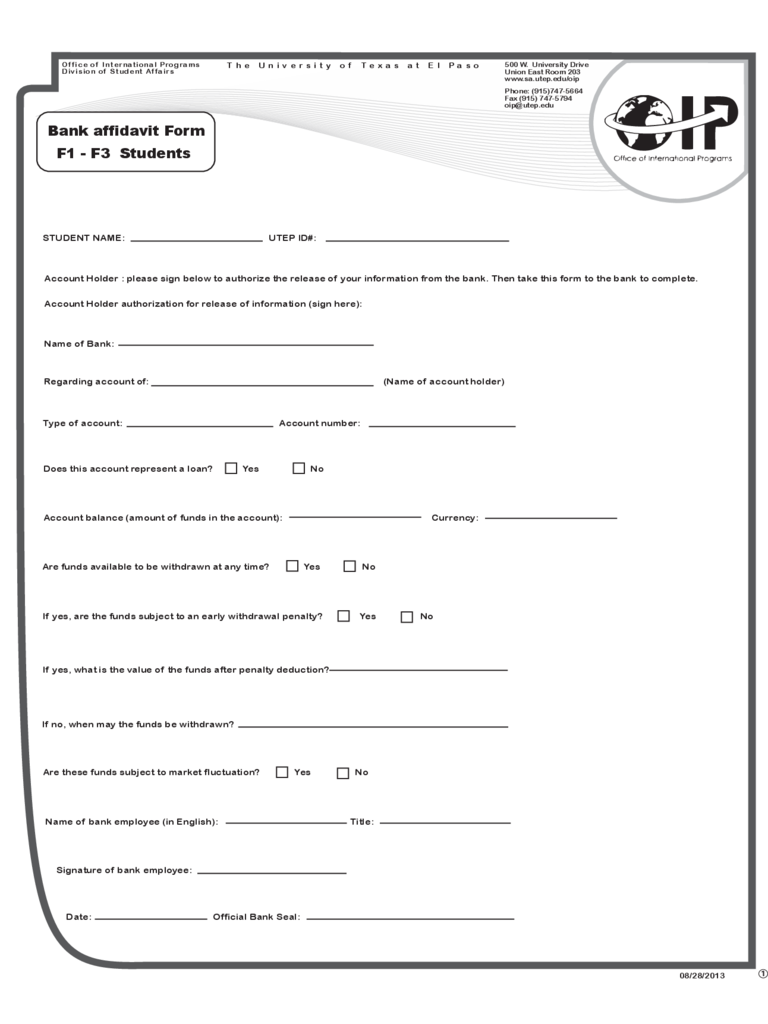 Bank Affidavit Form - Texas