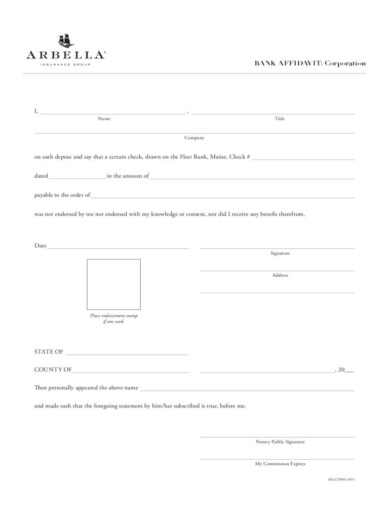Sample Bank Affidavit Form