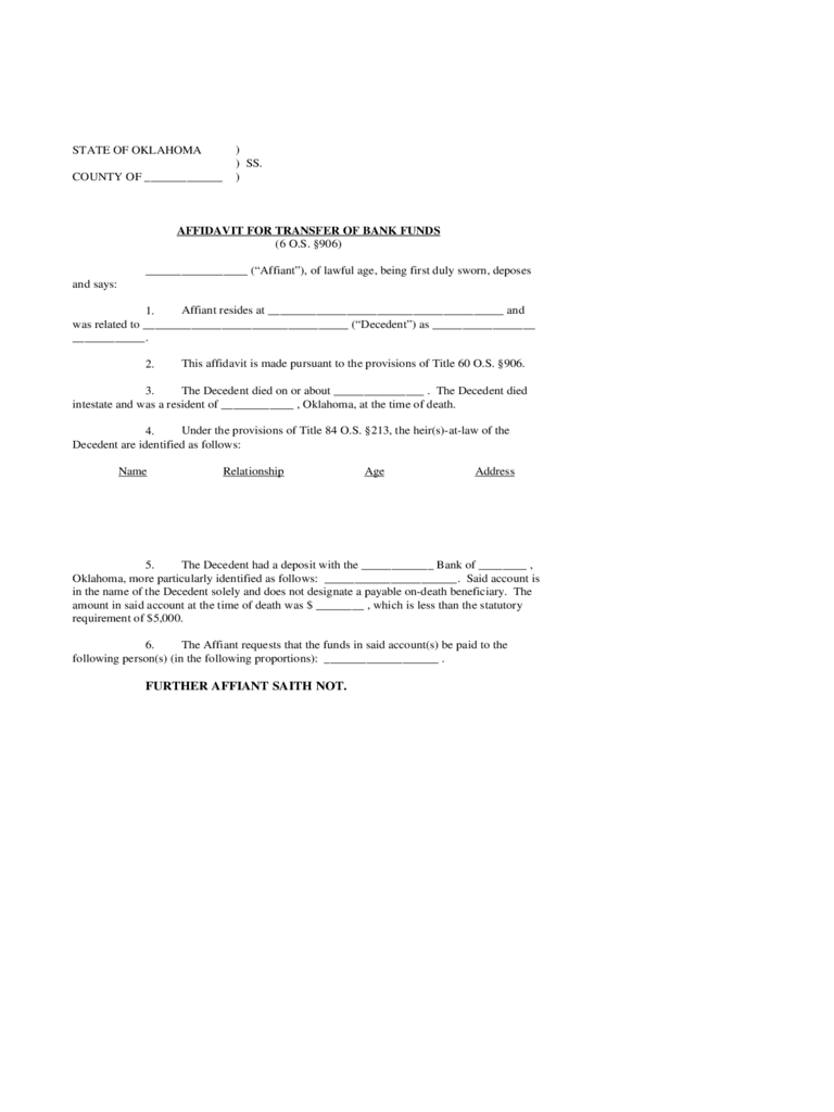 Affidavit for Transfer of Bank Funds - Oklahoma