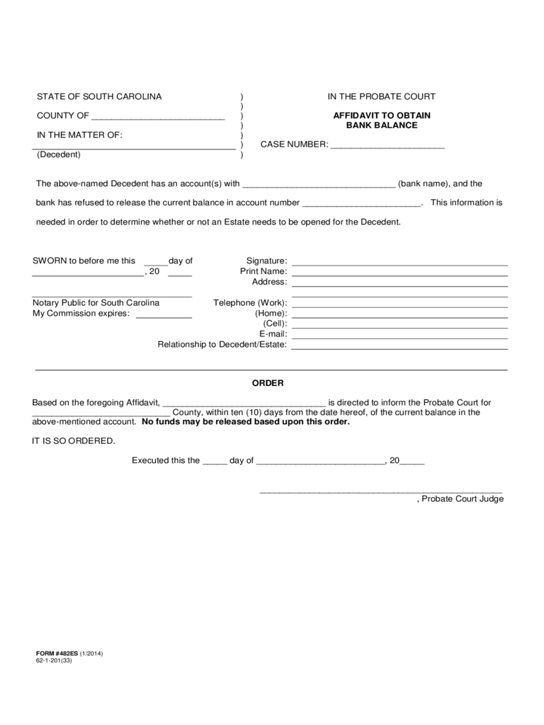 Affidavit to Obtain Bank Balance - South Carolina