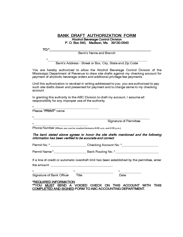 Bank authorization form mississippi free download for Bank draft template