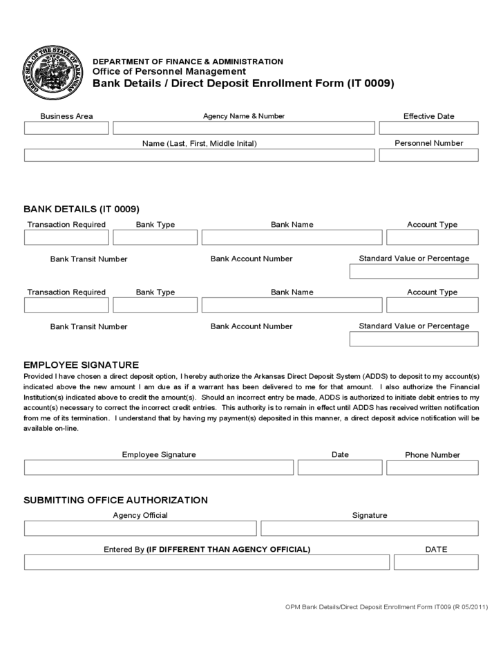 bank details    direct deposit enrollment form free download