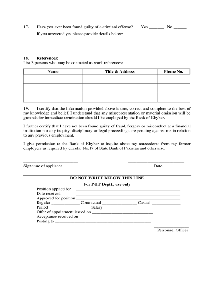 application for employment bank of khyber free download