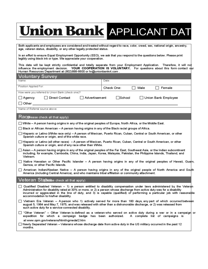 Bank Job Application Form - Union Bank