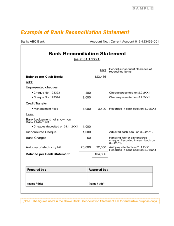 1 Bank Reconciliation Statement Form  Bank Reconciliation Statement Template