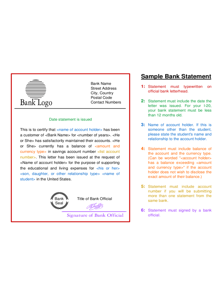 Free Bank Statement Template template for a job description
